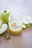 A jar of fresh apple sauce