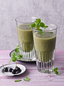Green smoothies with bananas, blueberries and chickweed
