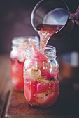 Pickled beetroot in a glass