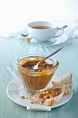 Condensed milk with white bread and tea