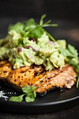 Grilled salmon with avocado cream and coriander