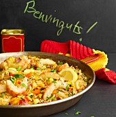 Paella with prawns and saffron