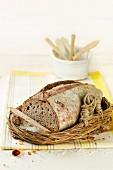 Sliced spelt bread with hazelnuts