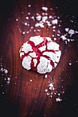 A red velvet crinkle cookie