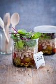 Bean and tomato salad in a glass