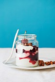 Cherries, yoghurt parfait and honey-roasted almonds