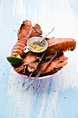 Grilled flathead lobster with a dip (Thailand)