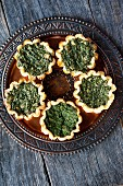 Mini spinach and goat's cheese tartlets
