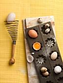 Various eggs in a baking tin