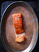 Salmon on a copper plate