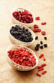 Dried goji berries, aronia berries and cranberries