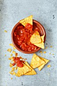 Nachos with homemade tomato sauce