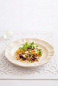 Winter salad with couscous, pumpkin, beetroot and feta cheese