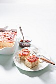 Coconut cake with jam