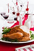 Festive roast turkey with fresh herbs