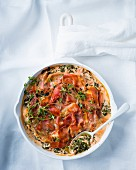 Spinach bake with cheese and Prosciutto