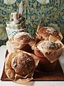 Jerusalem artichoke bread baked in terracotta pots