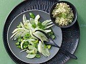 Green cucumber medley with almond couscous