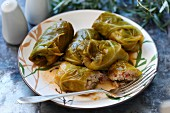 Cabbage roulade stuffed with rice and sausage