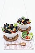 Thai-style mussels in coconut milk