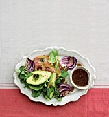 Avocado salad with roasted red onions, bacon and balsamic vinaigrette