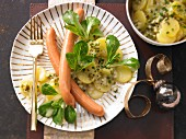Bavarian potato salad with sausages
