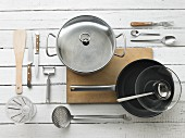 Kitchen utensils form preparing omelettes and asparagus