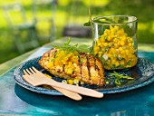 Indian tandoori, grilled chicken with a mango and mint chutney