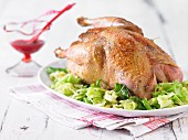 Pheasant with almond savoy cabbage and cranberry sauce
