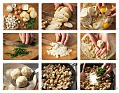 Mini bread dumplings with a mushroom ragout being made
