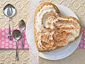 A pear heart with a meringue topping
