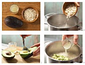 Rice flake porridge with avocado being made