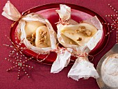 Baked pears in parchment paper