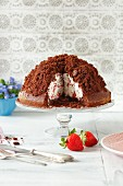 Maulwurfkuchen (chocolate cake with strawberries and whipped cream)