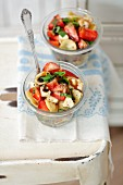 Orecchiette salad with strawberries, mozzarella and basil