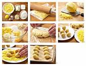 Crispy baked eggs for Easter being made