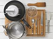 Kitchen utensils for making polenta slices with vegetables
