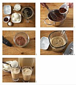 Iced coffee with chocolate foam being made