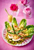 Cos lettuce with crab meat and fresh fruit