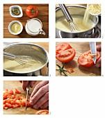 Polenta and tomato porridge being made