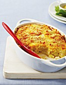 Potato bake with a crispy bread and cheese crust