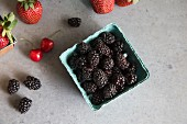 Blackberries, strawberries and cherries