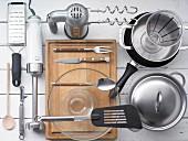 Kitchen utensils for preparing burgers and potatoes