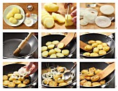 How to prepare home-made fried potatoes with onions