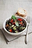 Lentil salad with avocado and cherry tomatoes