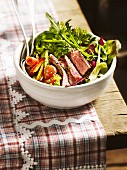 Colourful salad with pan-fried sirloin steak