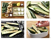 How to prepare grilled courgette and new potatoes with goats' cheese medallions
