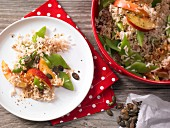 Rice salad with beans and nectarines