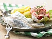 Soused herring with horseradish quark and radishes