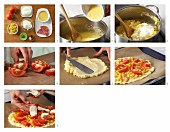 Polenta pizza with salami and sweetcorn being made